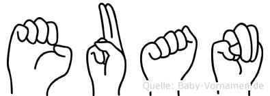 Euan im Fingeralphabet der Deutschen Gebärdensprache