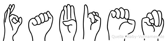Fabien im Fingeralphabet der Deutschen Gebärdensprache