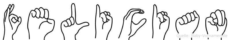 Felician im Fingeralphabet der Deutschen Gebärdensprache