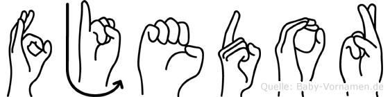 Fjedor im Fingeralphabet der Deutschen Gebärdensprache