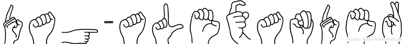 Dag-Alexander im Fingeralphabet der Deutschen Gebärdensprache