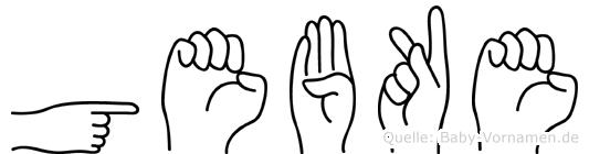 Gebke im Fingeralphabet der Deutschen Gebärdensprache
