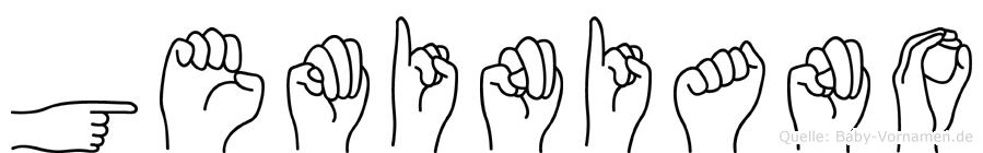Geminiano im Fingeralphabet der Deutschen Gebärdensprache