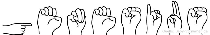 Genesius im Fingeralphabet der Deutschen Gebärdensprache