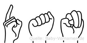 Dan im Fingeralphabet der Deutschen Gebärdensprache