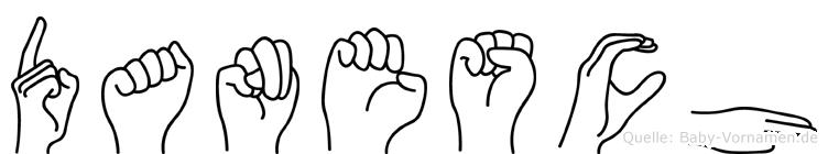 Danesch im Fingeralphabet der Deutschen Gebärdensprache