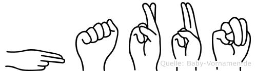 Harun im Fingeralphabet der Deutschen Gebärdensprache