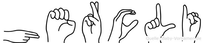 Hercli im Fingeralphabet der Deutschen Gebärdensprache