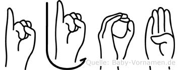 Ijob im Fingeralphabet der Deutschen Gebärdensprache