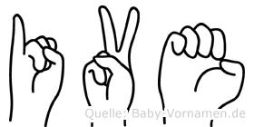 Ive im Fingeralphabet der Deutschen Gebärdensprache