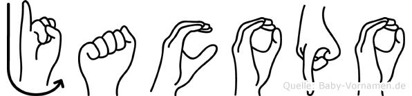 Jacopo im Fingeralphabet der Deutschen Gebärdensprache