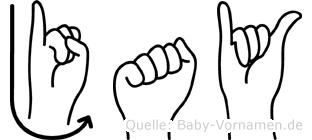 Jay in Fingersprache für Gehörlose