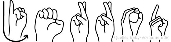 Jerrod im Fingeralphabet der Deutschen Gebärdensprache