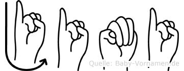 Jimi in Fingersprache für Gehörlose