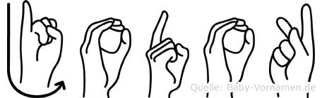Jodok im Fingeralphabet der Deutschen Gebärdensprache