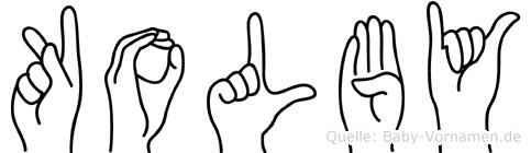 Kolby im Fingeralphabet der Deutschen Gebärdensprache