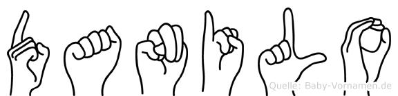 Danilo im Fingeralphabet der Deutschen Gebärdensprache