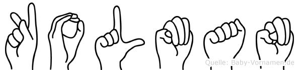 Kolman im Fingeralphabet der Deutschen Gebärdensprache