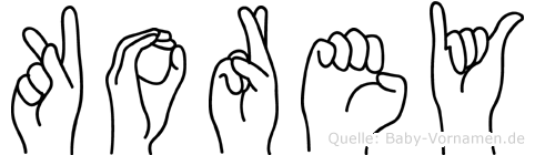 Korey im Fingeralphabet der Deutschen Gebärdensprache