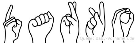 Darko im Fingeralphabet der Deutschen Gebärdensprache