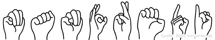 Manfredi im Fingeralphabet der Deutschen Gebärdensprache