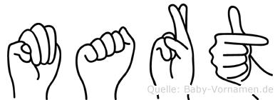 Mart im Fingeralphabet der Deutschen Gebärdensprache