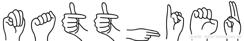 Matthieu im Fingeralphabet der Deutschen Gebärdensprache