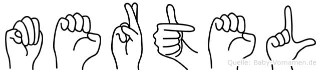Mertel im Fingeralphabet der Deutschen Gebärdensprache