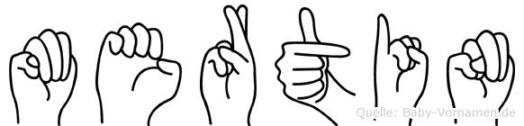 Mertin im Fingeralphabet der Deutschen Gebärdensprache
