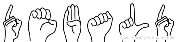Debald im Fingeralphabet der Deutschen Gebärdensprache