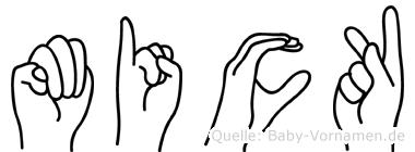 Mick im Fingeralphabet der Deutschen Gebärdensprache