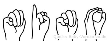 Mino im Fingeralphabet der Deutschen Gebärdensprache
