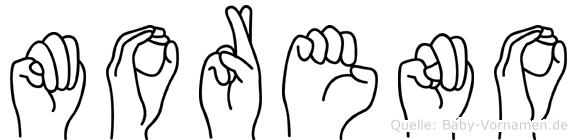 Moreno im Fingeralphabet der Deutschen Gebärdensprache