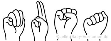 Musa im Fingeralphabet der Deutschen Gebärdensprache