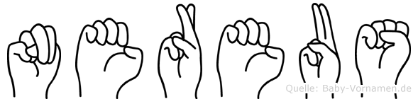 Nereus im Fingeralphabet der Deutschen Gebärdensprache