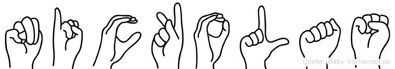 Nickolas im Fingeralphabet der Deutschen Gebärdensprache