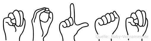 Nolan im Fingeralphabet der Deutschen Gebärdensprache