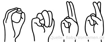 Onur im Fingeralphabet der Deutschen Gebärdensprache