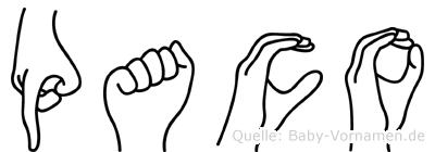 Paco im Fingeralphabet der Deutschen Gebärdensprache