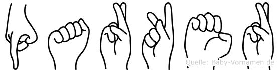 Parker im Fingeralphabet der Deutschen Gebärdensprache