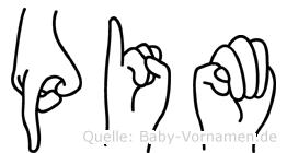 Pim im Fingeralphabet der Deutschen Gebärdensprache