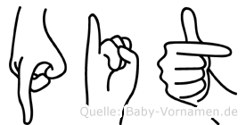 Pit im Fingeralphabet der Deutschen Gebärdensprache