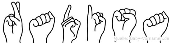 Radisa im Fingeralphabet der Deutschen Gebärdensprache