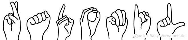 Radomil im Fingeralphabet der Deutschen Gebärdensprache