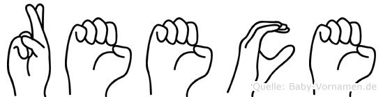 Reece im Fingeralphabet der Deutschen Gebärdensprache