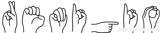 Remigio im Fingeralphabet der Deutschen Gebärdensprache