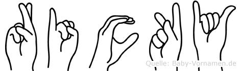 Ricky im Fingeralphabet der Deutschen Gebärdensprache