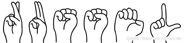 Russel im Fingeralphabet der Deutschen Gebärdensprache