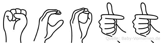 Scott im Fingeralphabet der Deutschen Gebärdensprache