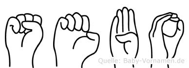 Sebo im Fingeralphabet der Deutschen Gebärdensprache
